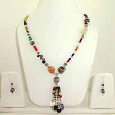 NECKLACE EARRINGS NATURAL MULTI GARNET CITRINE AMETHYST BEADED GEMSTONE 72 GRAMS