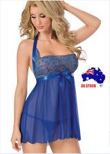 Blue Lingerie Floral Babydoll Chemise Underwear Plus Size + G-String  K191