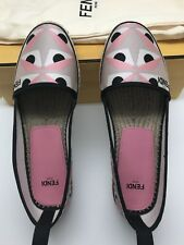 60d85c86692f NIB FENDI Junia Flat Espadrilles Pink Black Multicolor Size 5US   35 EU  Shoes