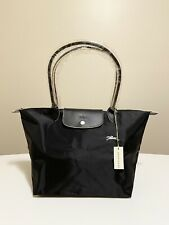 Longchamp Le Club Pliage Tote LARGE/ BLACK Nylon Handbag Authentic