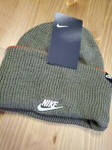 Nike Adult Unisex Beanie (Olive Green w/ Orange)
