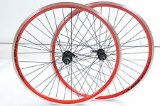 "PAIR 26"" 8 or 9 CASSETTE MTB SPECIAL WHEELS RED AIRLINE DUAL WALL RIM (559x21c)"