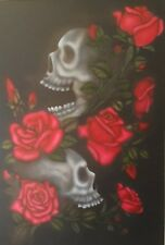 Skulls and Roses Airbrushing Stencils Step by Step Sugar Skull Bike Car Painting