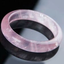 59mm Natural Rose Quartz Pink Mozambique Crystal Clear Woman Round Bangle AAAA