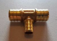 "25 PIECES 3/4"" X 3/4"" X 1/2"" PEX TEE BRASS CRIMP FITTINGS ( LEAD FREE )"
