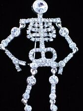 """SILVER CLEAR RHINESTONE HALLOWEEN GHOST SKELETON PIN BROOCH JEWELRY 4"""" MOVABLE"""