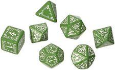 Q-Workshop Elven SELV14 Dice Set for RPG, Green & White