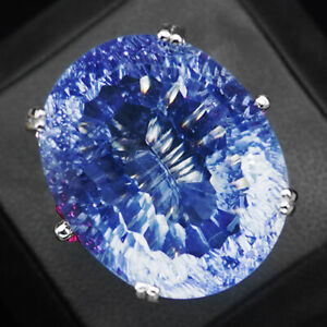 Change Blue Purple Spinel Concave 38.90 Ct. 925 Sterling Silve Ring Size 6.75