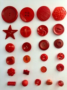 Vintage Plastic RED Buttons Assorted Shapes Floral Star Square Mixed Lot of 25