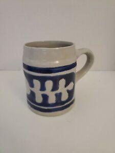 Williamsburg Pottery Salt Glaze Cobalt Blue Beer Tankard Stein Mug Oak Leaf