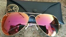 RAY BAN AVIATOR PINK  MIRRORED CRISTAL GLASSES GOLD FRAME 3025 112/ 58MM