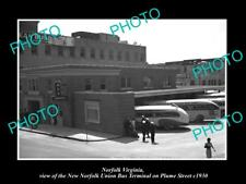 Old Large Historic Photo Of Norfolk Virginia, The Union Bus Terminal c1930