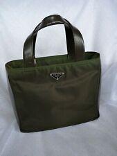 Original Prada bolso Bag nylon/cuero verde marrón