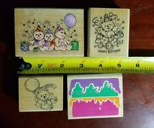 Lot of 4 - Happy Birthday Teddy Bears Rubber Stamps -  Party, Surprise, Presents