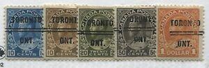 Canada KGV 10 cents to $1 values with Toronto Precancel strikes Type 10