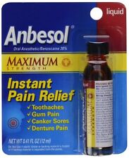Anbesol Maximum Strength Instant Pain Relief Liquid - 0.41 Oz: PACK OF 3