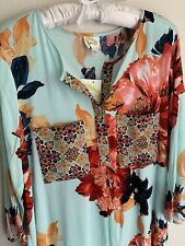 NWT L Fig & Flower Blue Floral Blouse Top Large Shirt Tunic Anthropologie Large