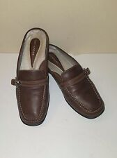 Rockport Dk Brown Leather Backless Driving Loafer w/Buckle/Stitch Detail Sz 8.5W
