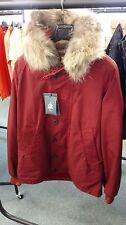 CP Company Hooded Fur Trim Parka Jacket In Red BNWT