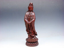 Vintage Solid Rosewood Highly Detailed Hand Carved Kwan-Yin Buddha Prayer Beads