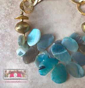 Turquoise Blue Aqua Agate Fringe Beaded Statement Necklace Antique Africa Bronze