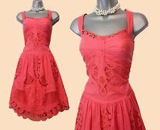 Karen Millen Orange Coral Broderie Anglaise Mid Length Casual Dress UK14  EU42