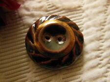 gros bouton vintage en céramique vernissé Marron  doré   2,8 cm D6H