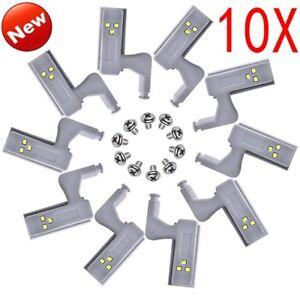 1-10X LED Cabinet Cupboard Closet Wardrobe Hinge Sensor Kitchen Night Light HQ