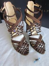 New Ralph Lauren Collection Italy Brown Suede Bliara Strappy Sandals  38.5  B