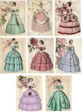 Vintage inspired victorian lady fashion cards tags set 8 with envelopes