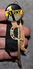 VINTAGE ARMY CELLULOID PIN/PINBACK W/RIBBONS & METAL JEWELED SWORD CIRCA 1930'S