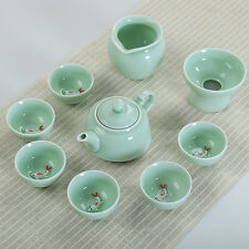 porcelain kungfu tea set in chinese ceramic tea cup pot fish design pitcher gift