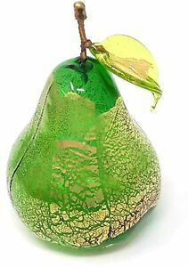 """Murano Blown Glass 3"""" Pear, Green with Gold Foil, Glass Fruit, Made in Italy"""