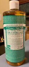 Dr Bronner's 18 in 1 Hemp Almond Pure Castile Soap Fair Trade Organic Oils 32 oz