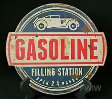 "Vintage Reproduction 12"" Round Wood Gasoline Gas Station Sign New"