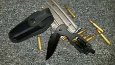 LED Multi Tool Pocket Knife Black Tactical Blade with Screw Driver and Holster N