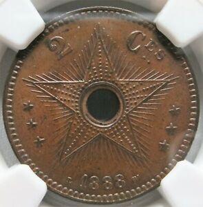 CONGO FREE STATE Belgium 2 centimes 1888 NGC MS 63 BN UNC