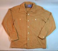 Vintage Pendleton Mens Board Shirt Solid Brown Wool Loop Collar 60s 70s Medium