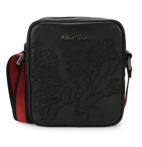 Robert Graham Dragon Black Leather Embroidered Messenger Day Bag $298 NWT Unisex