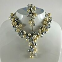 White House Black Market WHBM Y Necklace Bracelet Set Faux Pearl Wedding Jewelry