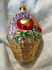 """As Is1995 #9544 Patricia Breen Fruit Basket Blown Glass Christmas Ornament 4.75"""""""