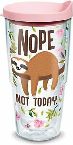 Tervis Sloth Nope Not Today Insulated Tumbler with Wrap and Pink Lid, 24 oz, Cle