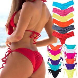 KANGMOON Womens Halter Triangle Bikini Thong Bottom Brazilian Cheeky Two Piece Swimsuits