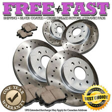 C0555 FRONT+REAR Drilled Brake Rotors Ceramic Pads FOR 2005 2006 Kia Spectra 5