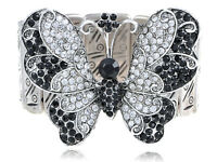 Women Crystal Rhinestone Butterfly Stretch Silver Tone Bangle Unique Bracelet
