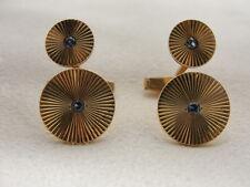 Estate 14K Gold Duo-Circle Cufflinks with Sunburst Design & Center Sapphires