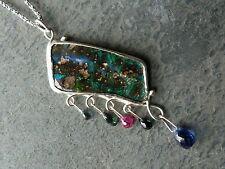 Collar plata 925,1 Ópalo boulder de'Australia, rubí, turmalina,cianita,zafiro