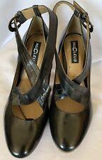 Nucleus Women Black Leather Cross Strap Block Heel Pumps Shoes Size 9W