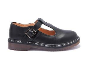 Women's work School Chunky Mary Jane Flat DM Style Shoe Black Size 3 4 5 6 7 8