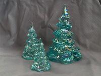 Fenton Glass Christmas Trees Iridescent Blue/Green Set of 3